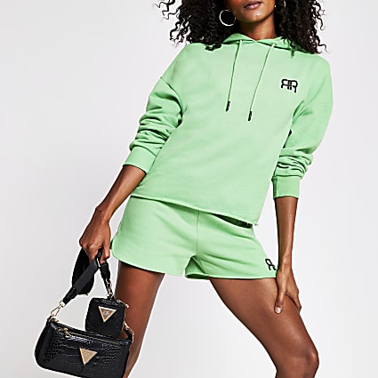 Green long sleeve branded RR hoodie