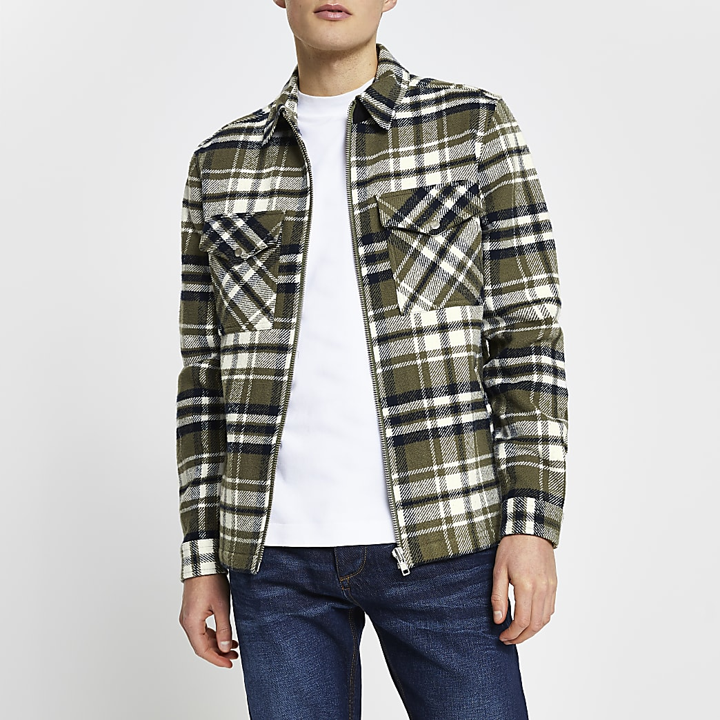 Green long sleeve check shacket