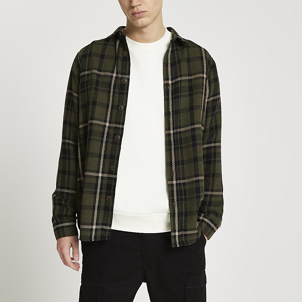 Green long sleeve check shirt