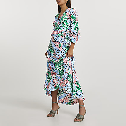 Green long sleeve floral printed wrap dress