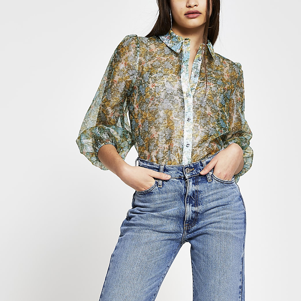 Green long sleeve floral sheer shirt