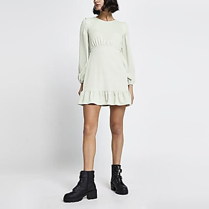 Green long sleeve frill hem mini dress