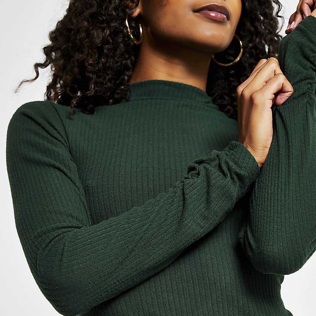 Green long sleeve high neck ribbed top
