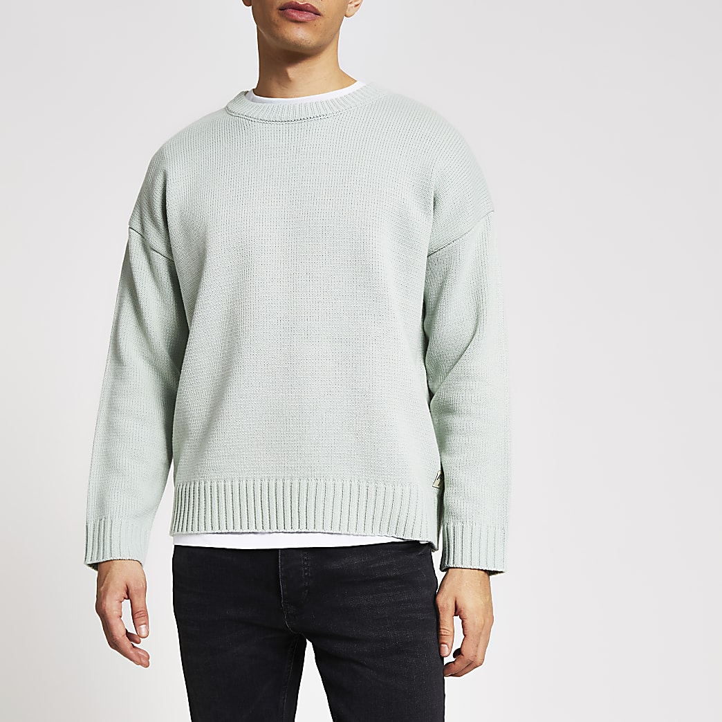 Groene gebreide oversized trui met lange mouwen