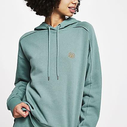 Green long sleeve RI hoodie