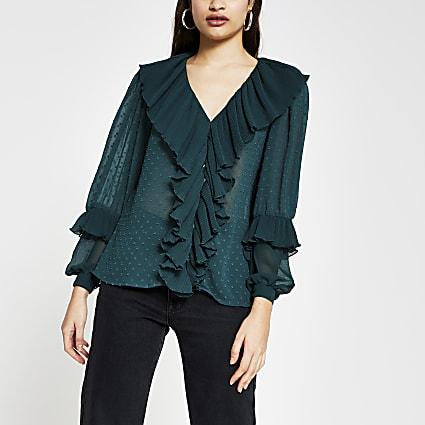 Green long sleeve ruffle blouse