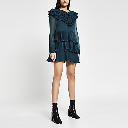 Green long sleeve ruffle mini dress