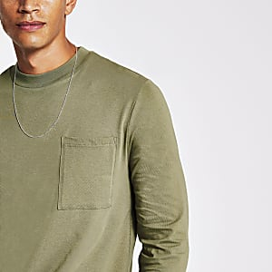 Green long sleeve sim fit t-shirt