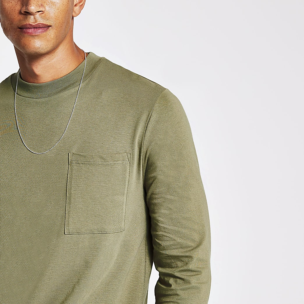 Green long sleeve slim fit t-shirt