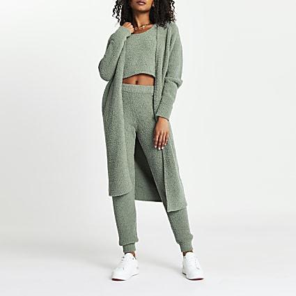 Green longline fluffy cardigan