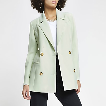 Green longline gold button blazer