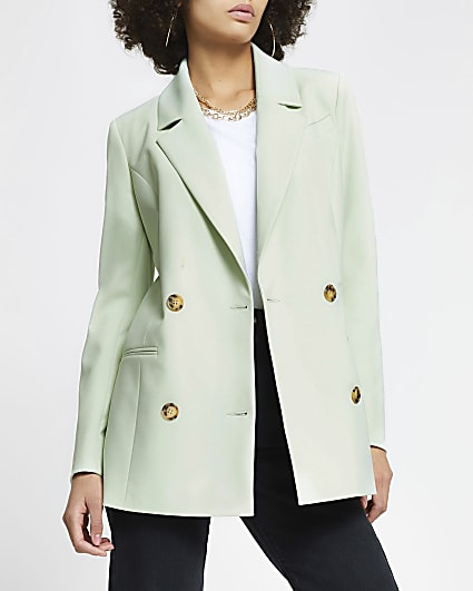 Green longline gold button blazer
