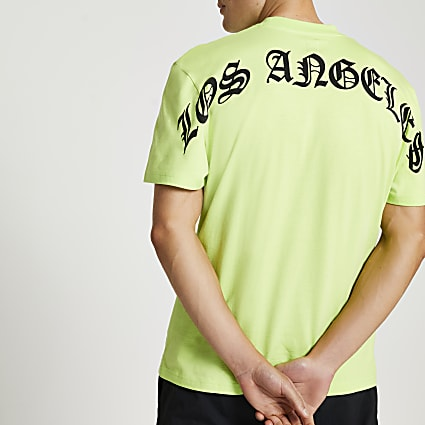 Green Los Angeles back print t-shirt