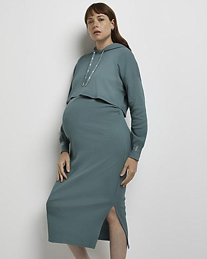 Green maternity dress and jumper set