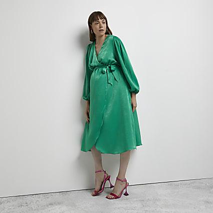 Green maternity satin wrap midi dress