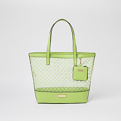Green mesh shopper with pouch