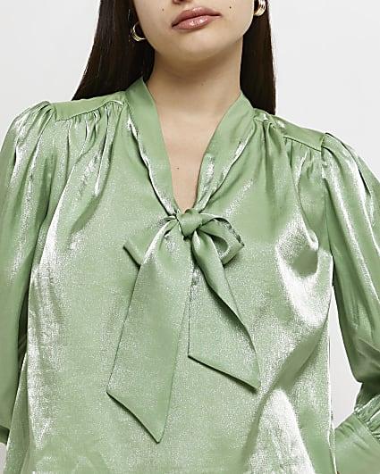 Green metallic tie neck blouse