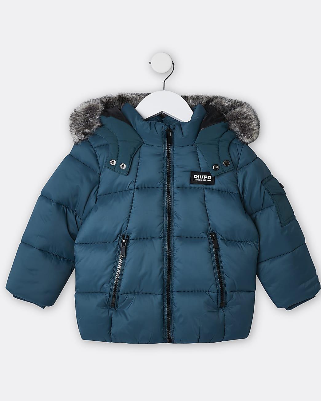 Green mini boys puffer coat