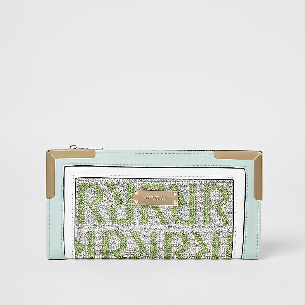 Green monogram embellished purse