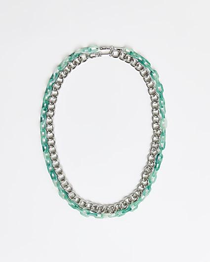 Green multirow chain necklace