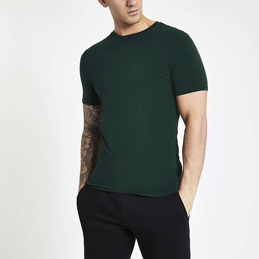 Green muscle fit crew neck T-shirt