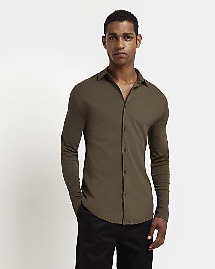 Green muscle fit long sleeve shirt