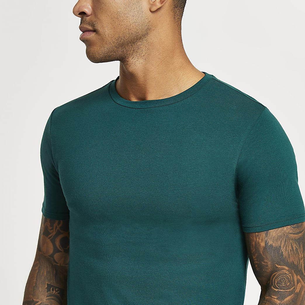 Green muscle fit short sleeve t-shirt