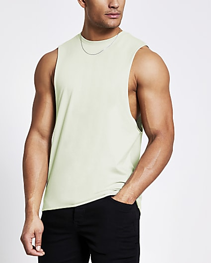 Green muscle fit vest