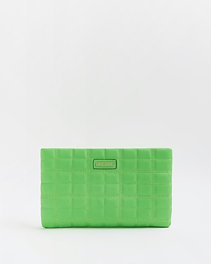 Green neon quilted clutch bag
