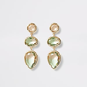 Green ombre jewel drop earrings