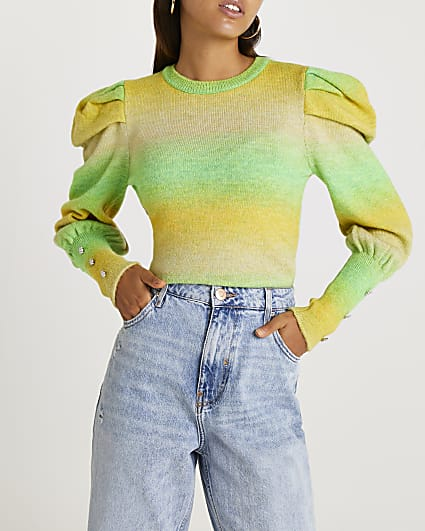 Green ombre knitted jumper