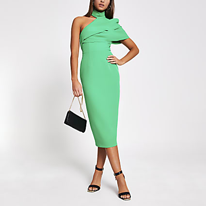 Green one shoulder bodycon midi dress
