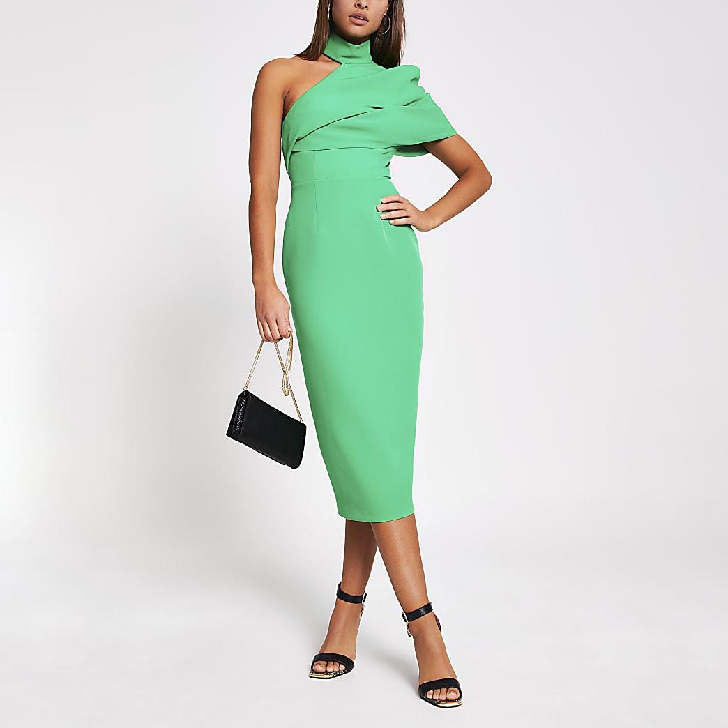 Green one shoulder bodycon midi dress