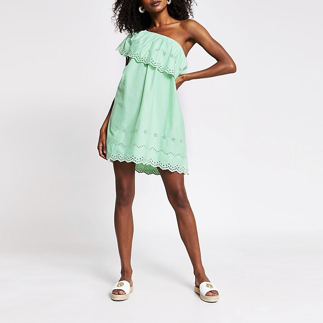 Green one shoulder cut work mini dress