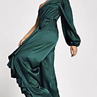 Green one shoulder wide leg satin jumpsuit