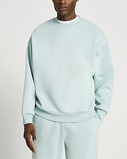 Green oversized crew sweatshirt