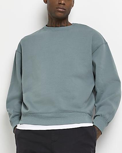 Green oversized fit sweatshirt