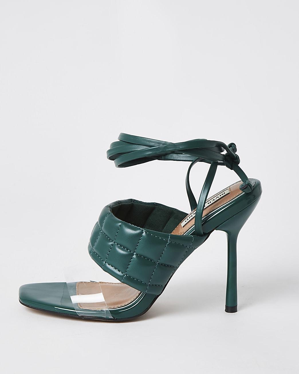 Green padded tie up sandal heels