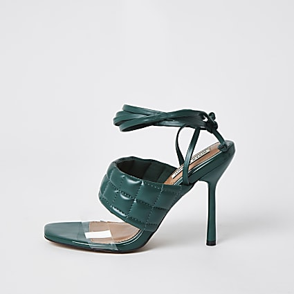 Green padded tie up sandal heels
