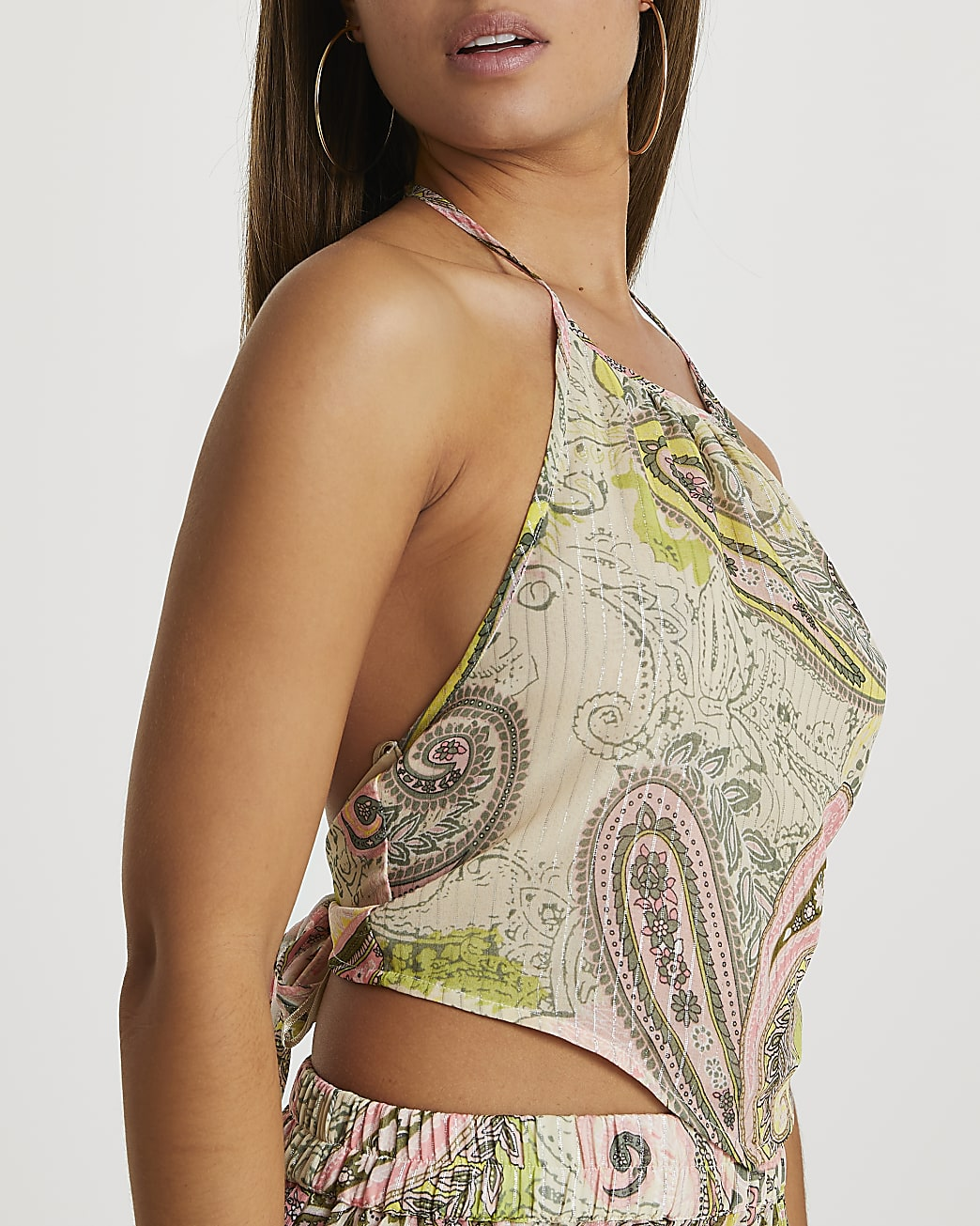 Green paisley print halter neck top