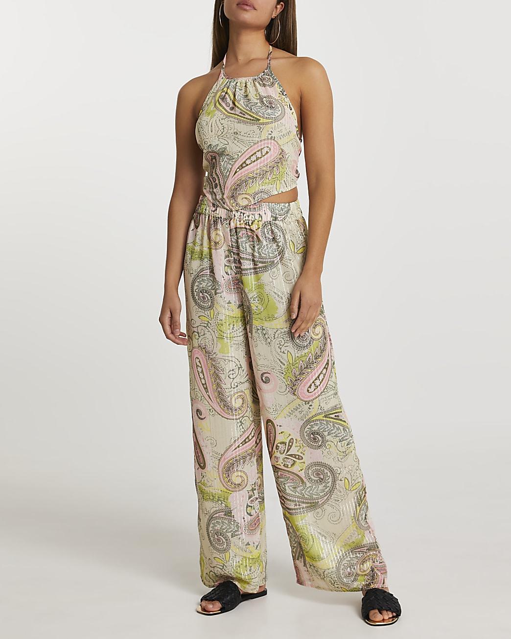 Green paisley print wide leg trousers