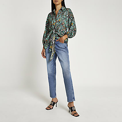 Green paisley tie front shirt