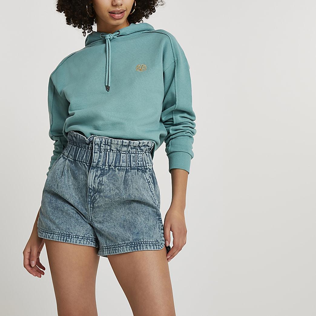 Green paperbag belted denim shorts