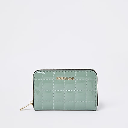 Green patent quilted RI zip around mini purse