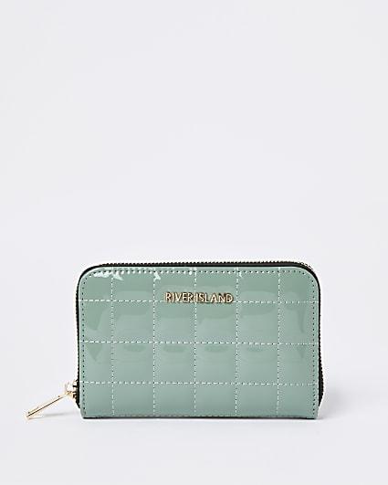 Green patent quilted RI zip around mini purse