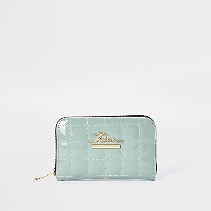 Green patent quilted ziparound purse