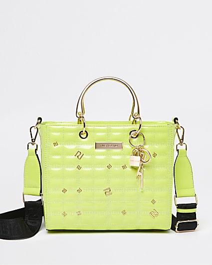 Green patent tote bag