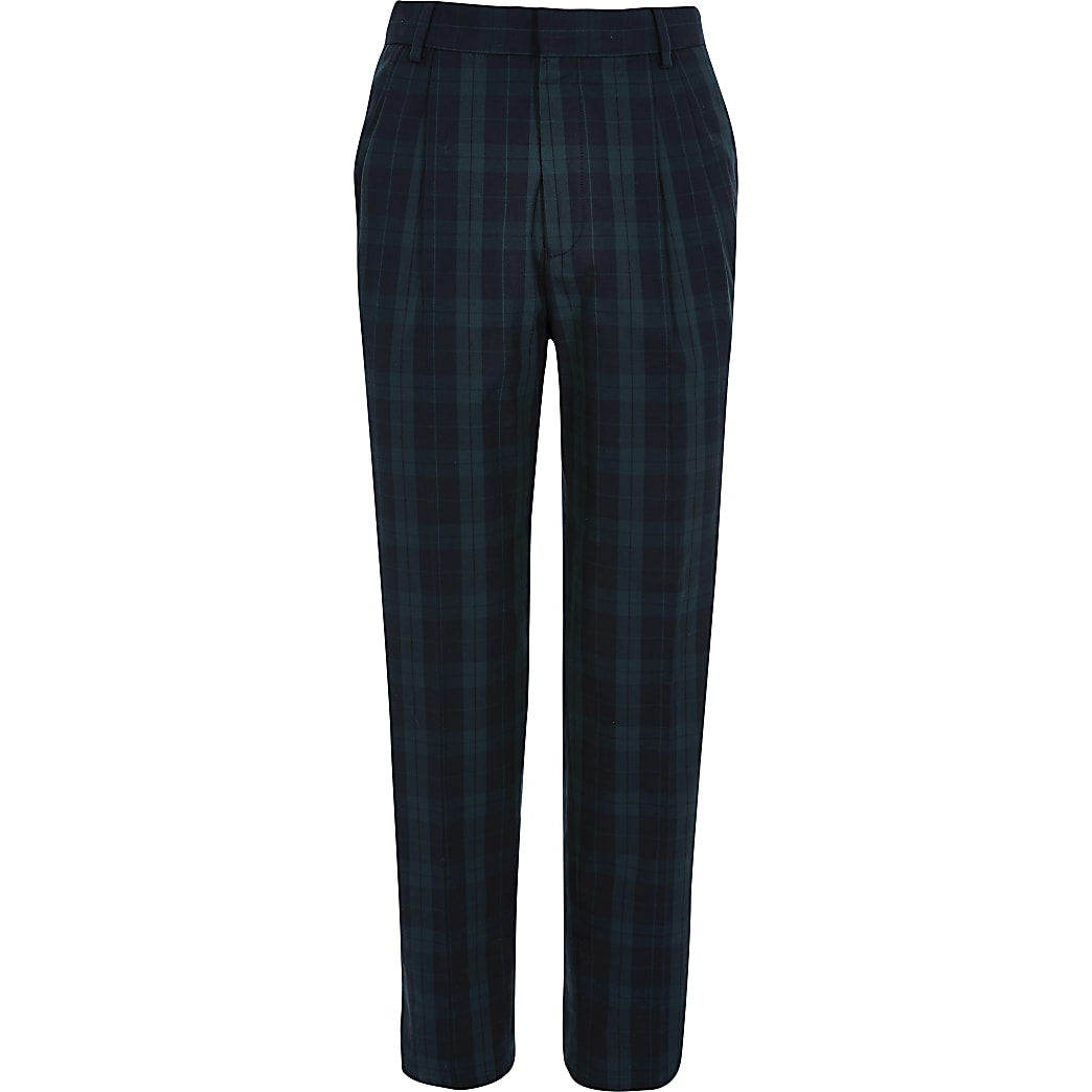 Green Pleated Check Tapered Trs