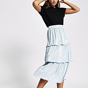 Green pleated jersey frill midi skirt