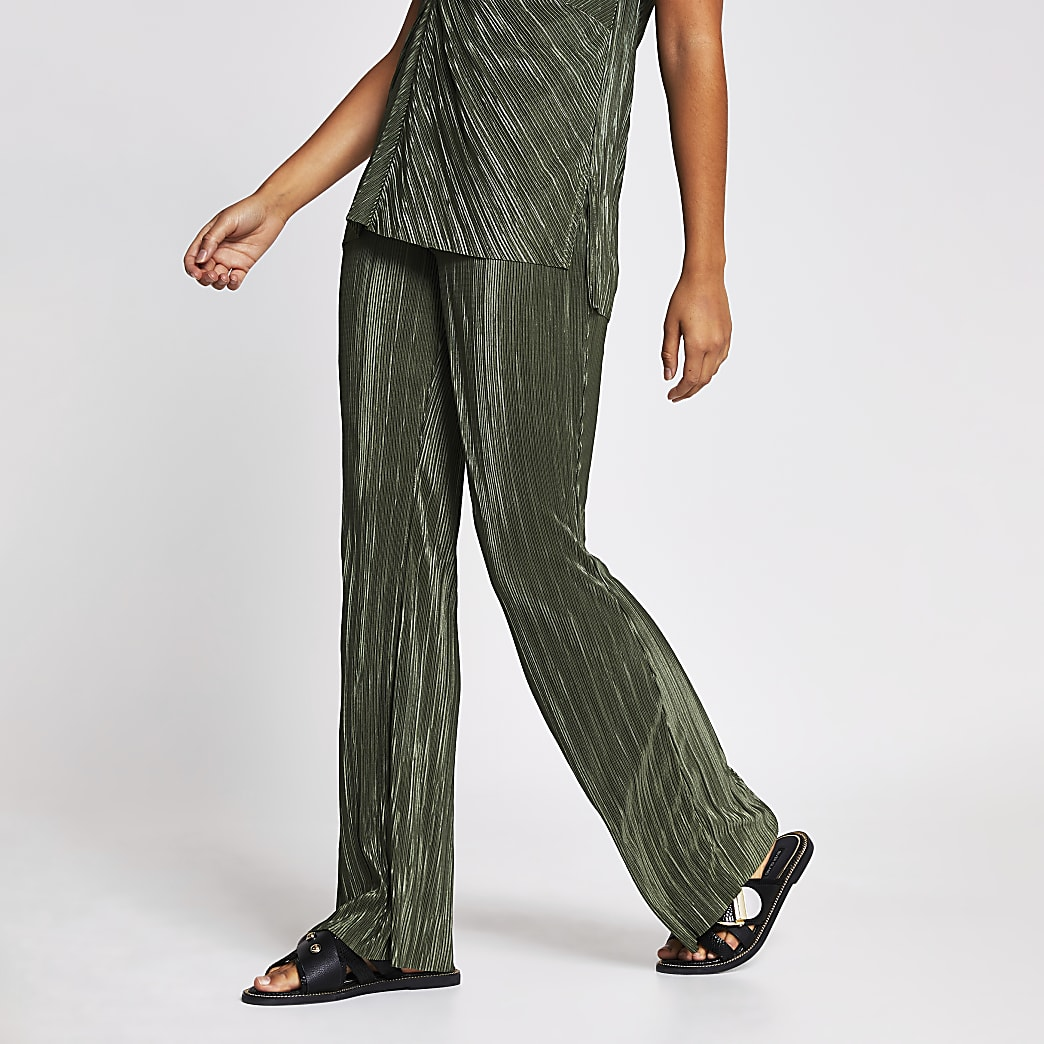 Green plisse wide leg trouser